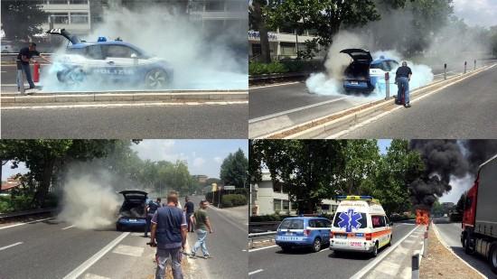 宝马i3电动警车意大利罗马街头自燃  火势难以控制