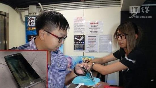 三星Note7手机香港第二次起火:网吧监控全程拍下