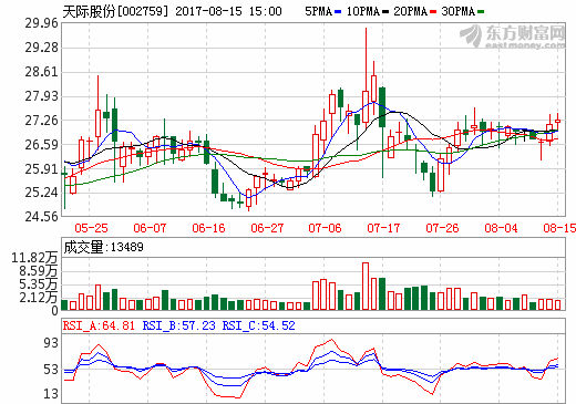 天际股份:上半年净利增逾4倍  销售六氟磷酸锂909吨