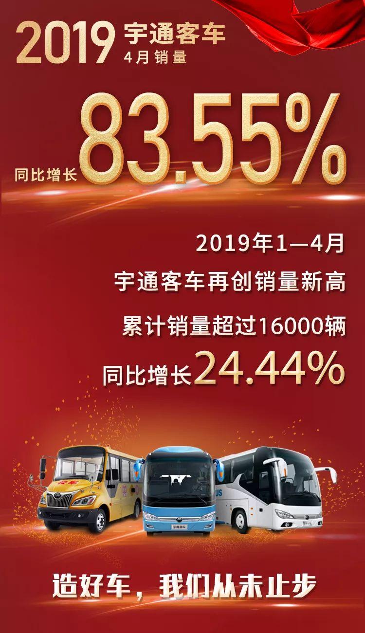 宇通4月销量同比增长83.55% 大型客车单月暴增1.5倍