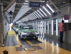吉利成都工厂第5300台吉利帝豪EV450新能源出租车下线