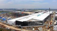 特斯拉上海工厂二期最新进展:动力电池厂房现雏形