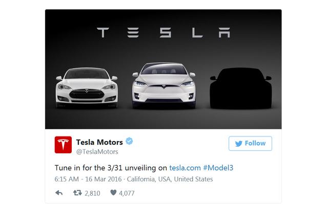 特斯拉3月31日发布廉价电动车Model 3 卖22.8万