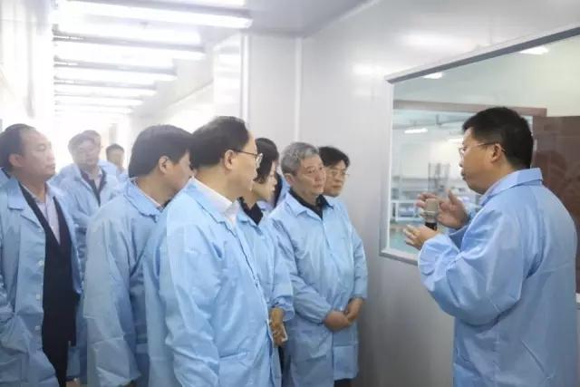 妙盛动力总裁邱则有向湖南副省长张剑飞一行介绍锂电池生产工艺流程