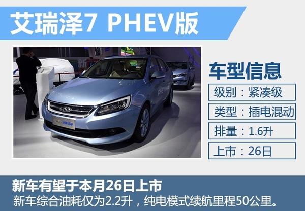 奇瑞插电混动车本月26日上市 竞争比亚迪秦