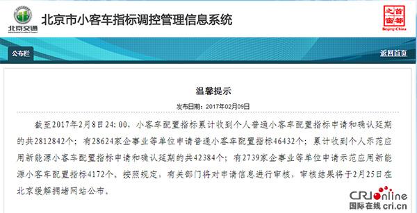 北京新能源小客车个人指标遭抢  仅剩8616个