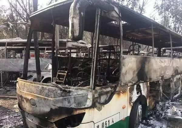 被烧毁的新能源客车