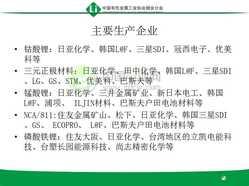 国外正极材料主要生产企业
