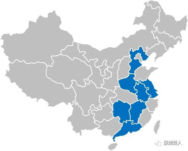 蓝色图示区为锂电池隔膜材料规模较大省份