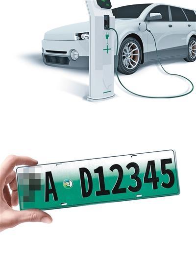 其中,小型新能源汽车专用号牌底色采用渐变绿色,大型新能源汽车专用