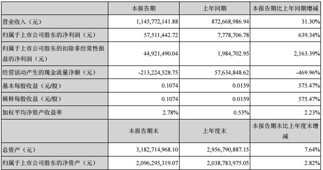 威华股份主要会计数据和财务指标