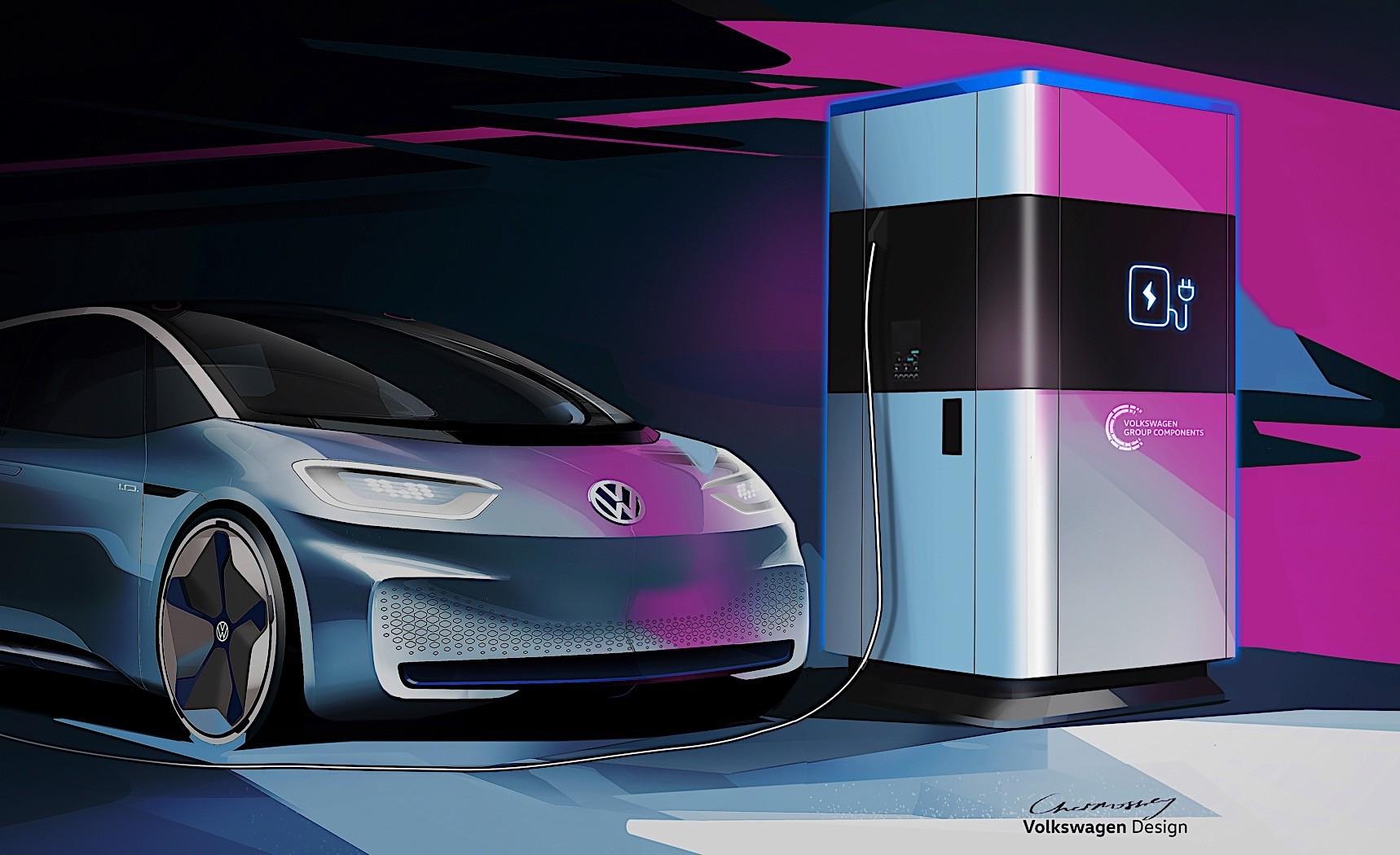 大众推新型移动充电站 可同时给4辆车充电