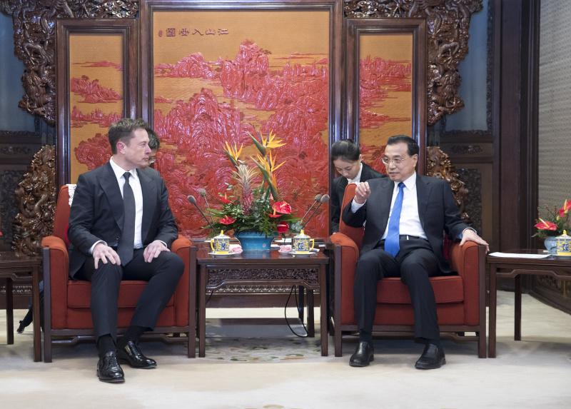 李克强在中南海会见美国特斯拉CEO马斯克