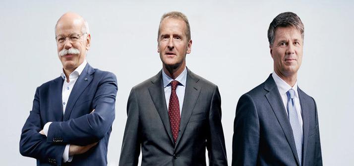 德国汽车巨头戴姆勒、大众和宝马首席执行官