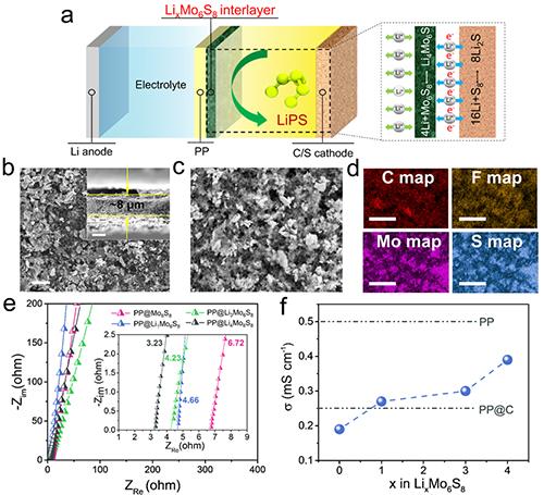 图1. PP@LixMo6S8相关性质表征及其在锂-硫电池中工作原理示意图