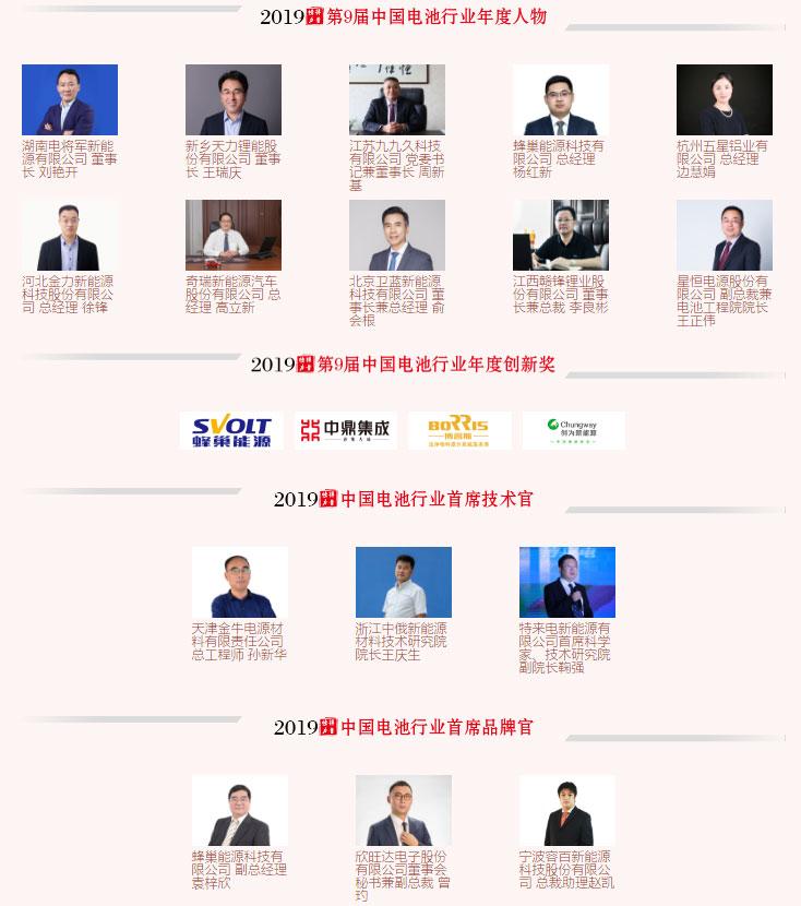 第9届(2019年)中国电池行业年度人物/年度创新奖/首席技术官/首席品牌官名单揭晓