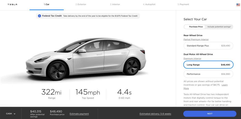 特斯拉长续航版Model 3增加15公里里程 涨价500美元