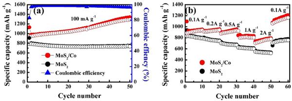 图1. MoS2/Co复合材料的循环和倍率性能。