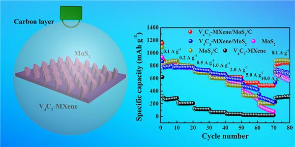 图2. V4C3-MXene/MoS2/C复合材料的结构示意图和倍率性能。