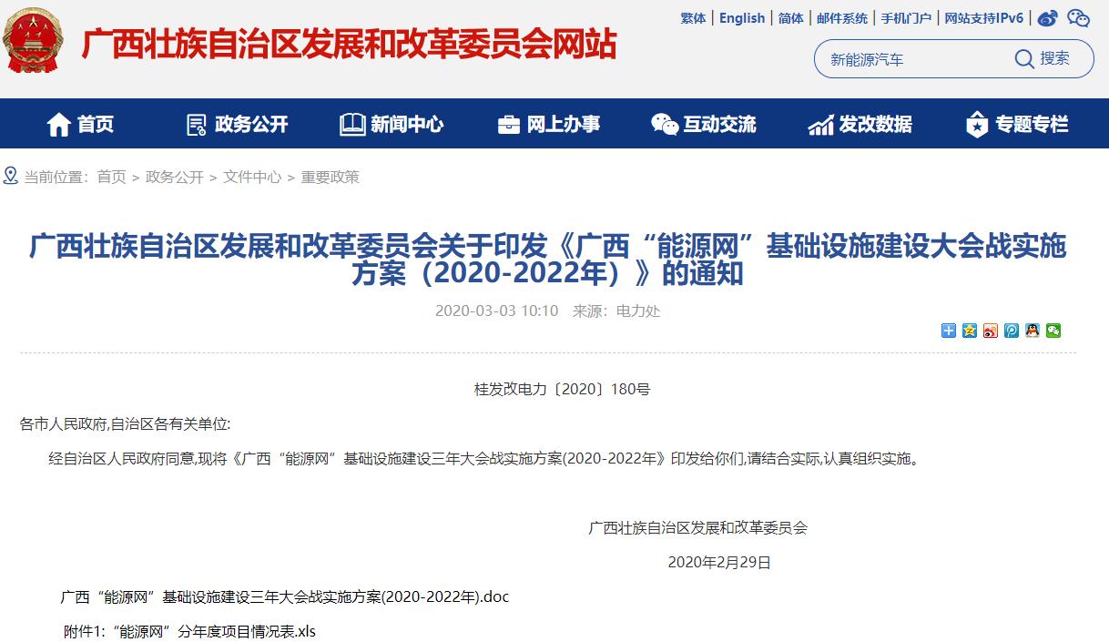 """《广西""""能源网""""基础设施建设大会战实施方案(2020-2022年)》"""