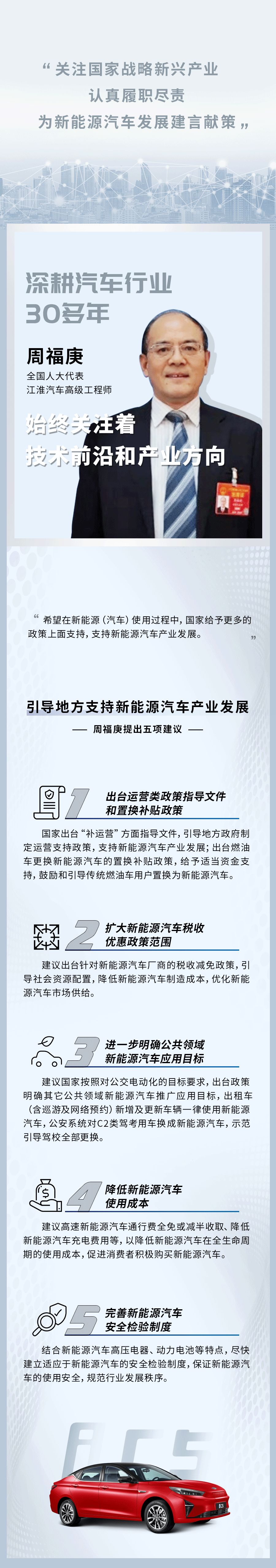 江淮汽车周福庚:建议降低新能源汽车使用成本