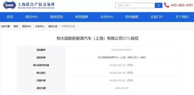 上海松江国资委转让恒大国能ballbet贝博篮球下注汽车20%股权 接盘方未披露