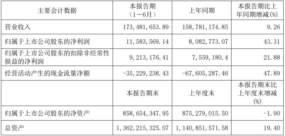 瀚川智能上半年相关业绩数据(单位:元)