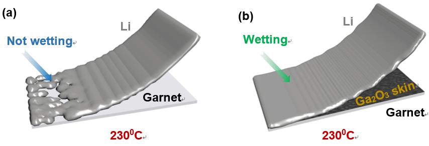 空气中表面张力自减小的液态金属在石榴石型固态电解质表面上的润湿行为