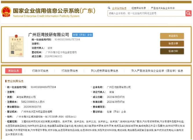 广汽集团石墨烯高科技产业化公司成立