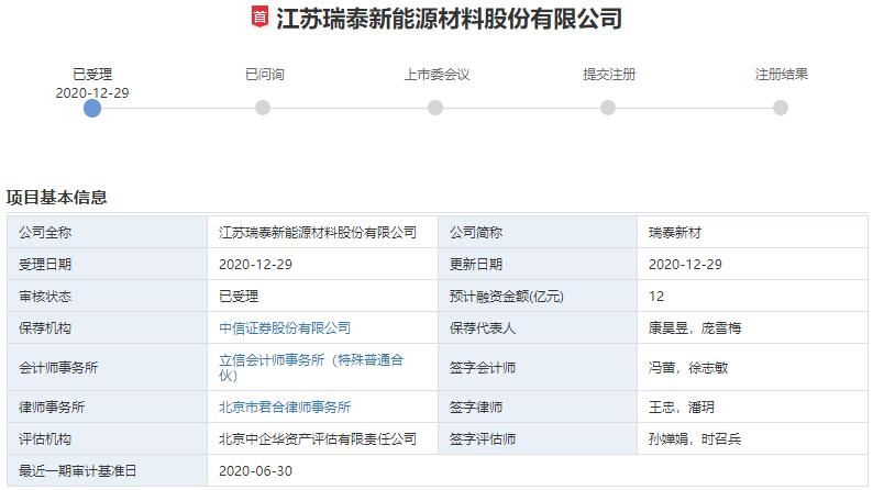瑞泰新材创业板IPO申请获受理 拟募资12亿加码电解液主业