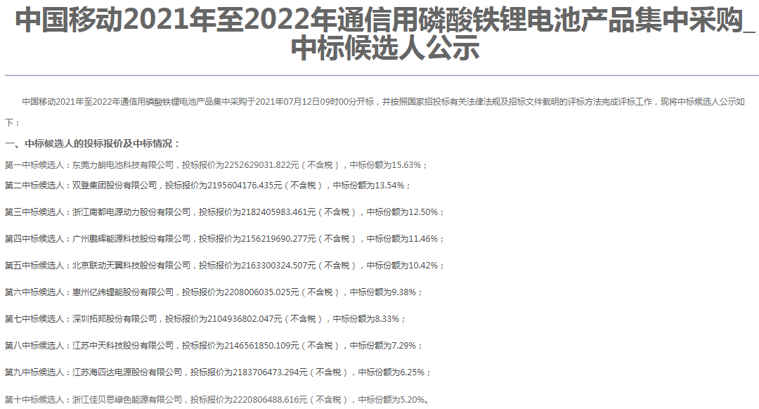 中国移动发布2021年至2022年通信用磷酸铁锂电池产品集中采购中标候选人公示