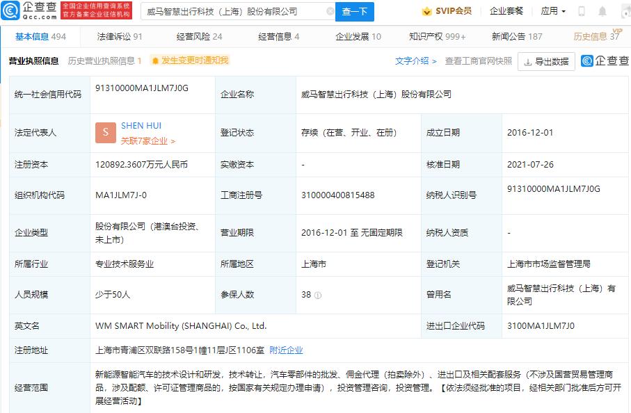 威馬汽車關聯公司注冊資本增至約12億 增幅超75%