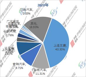 2020年中国微型电动汽车企业TOP10市场份额