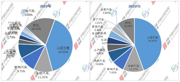 2020年/2021H1中国微型电动汽车企业TOP10市场份额